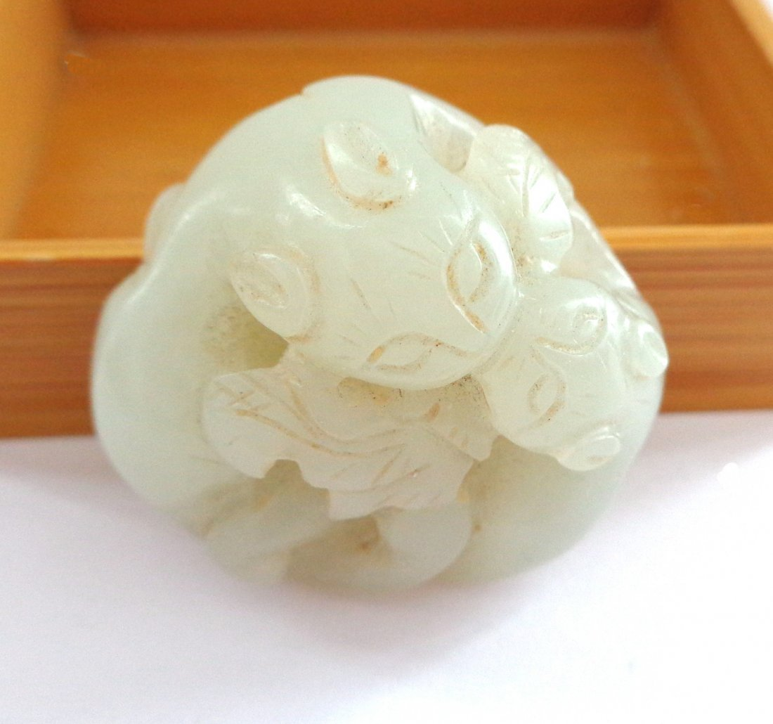 Antique Chinese Jade of Cuddling Chilongs or Kittens