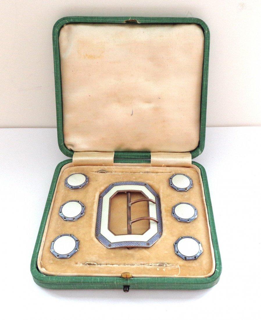 1909 Birmingham Sterling Silver Enamel Buckle n Buttons