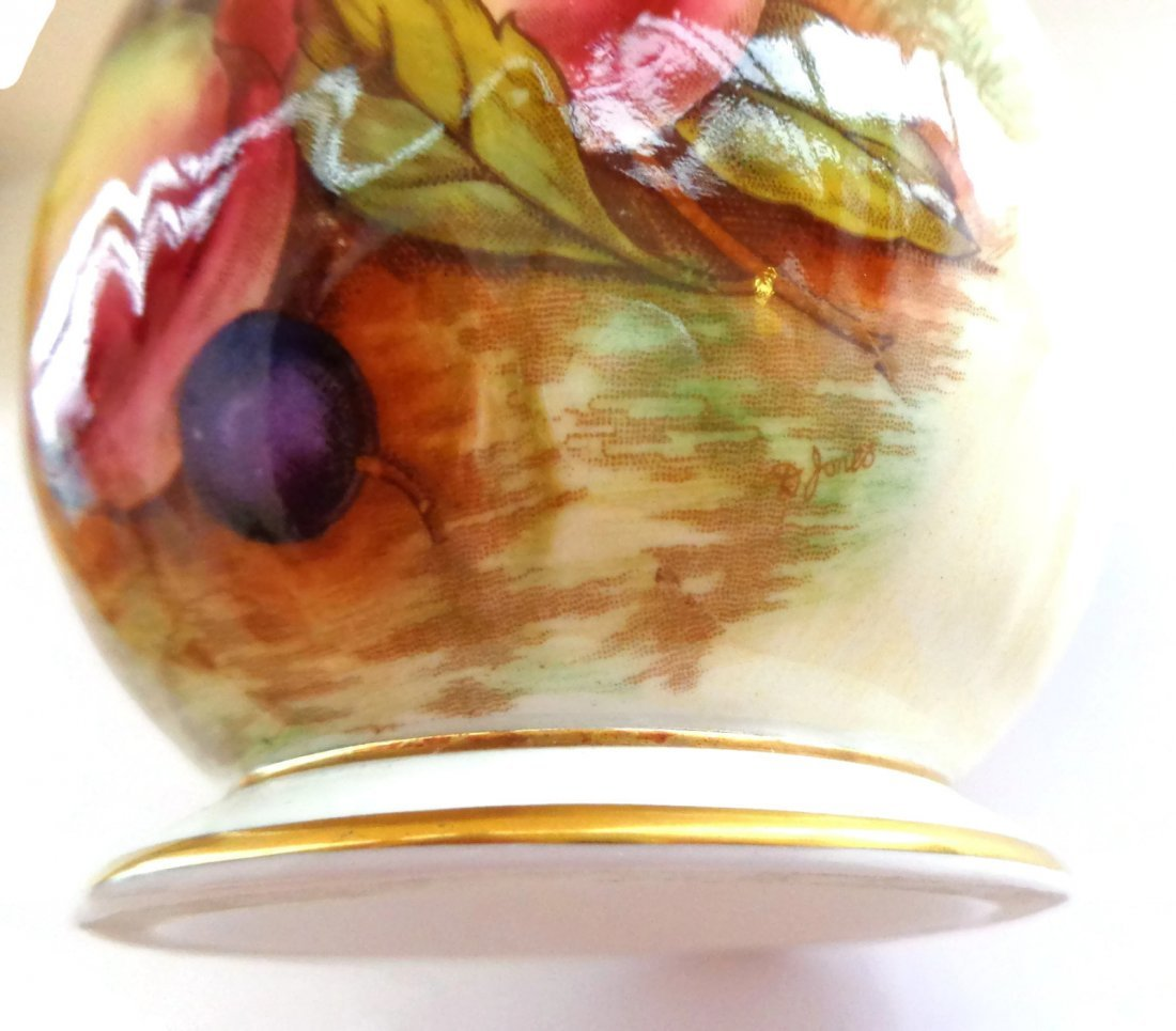 Aynsley Orchard Gold Fruit Jam Pot Signed D Jones - 4