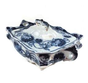 Antique Flow Blue Adams Lily Covered Tureen Casserole