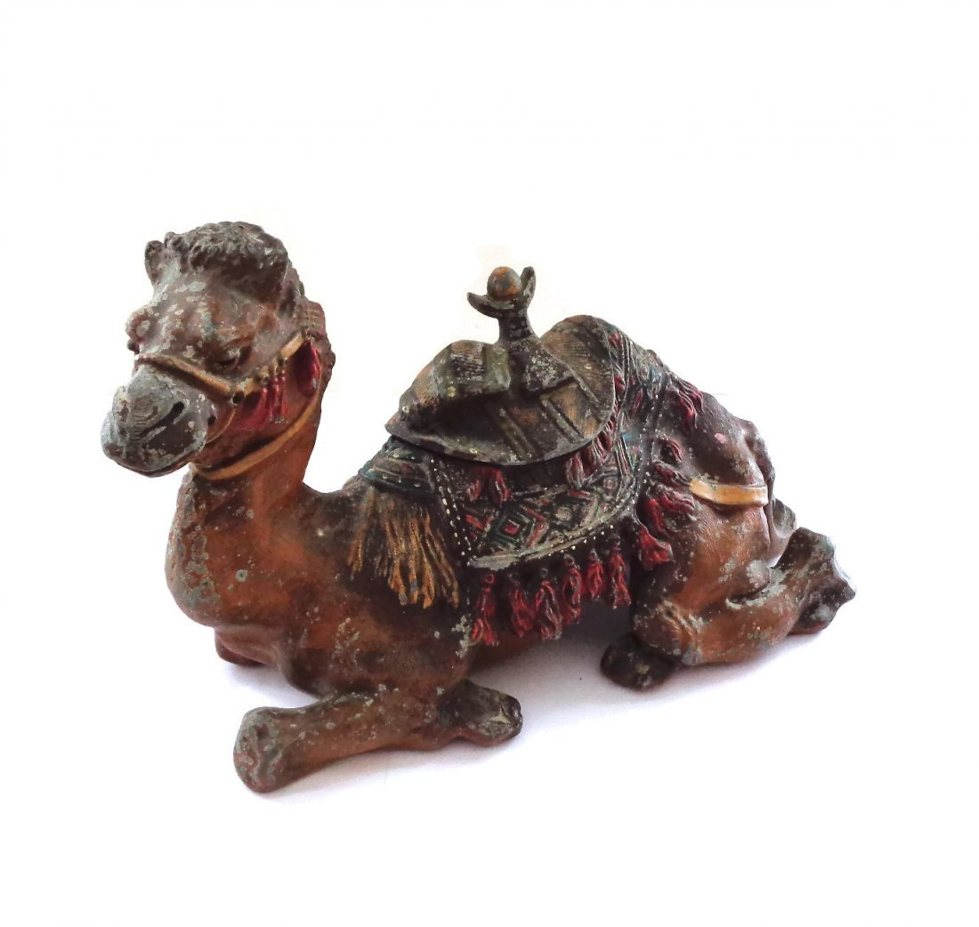 Antique Figural Camel Inkwell Largest Size
