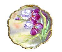 Antique Limoges Hand Painted Iris or Orchid Plate