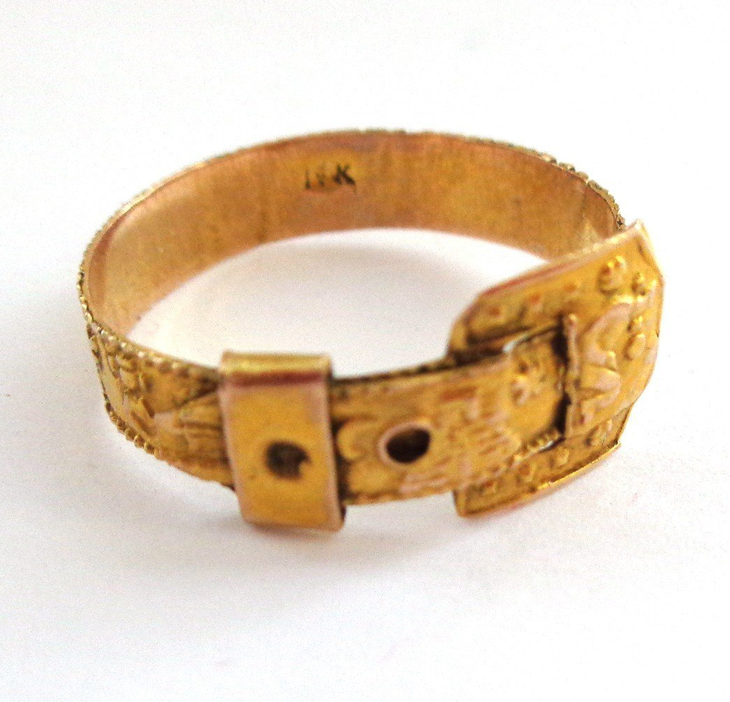 14K Gold Buckle Ring