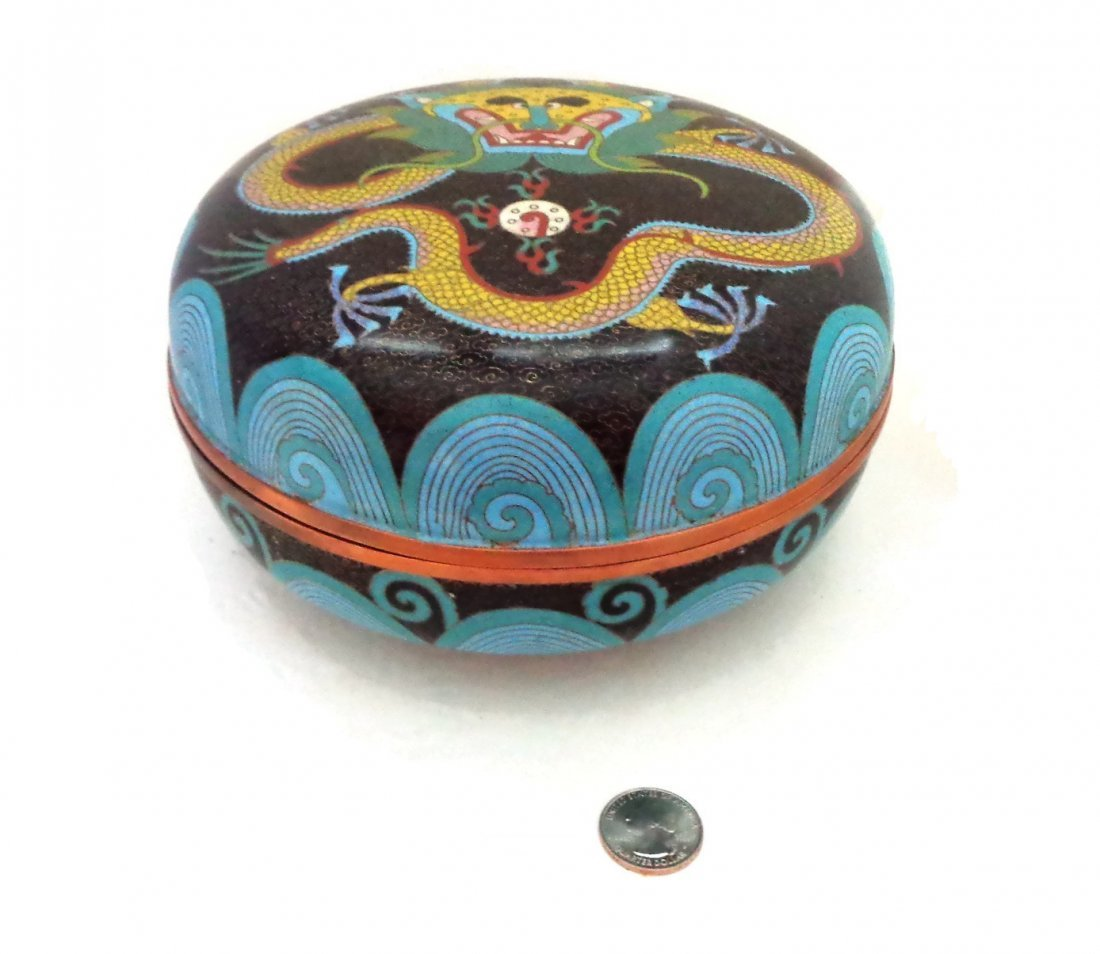 "8"" Chinese Cloisonne Dragon Box"