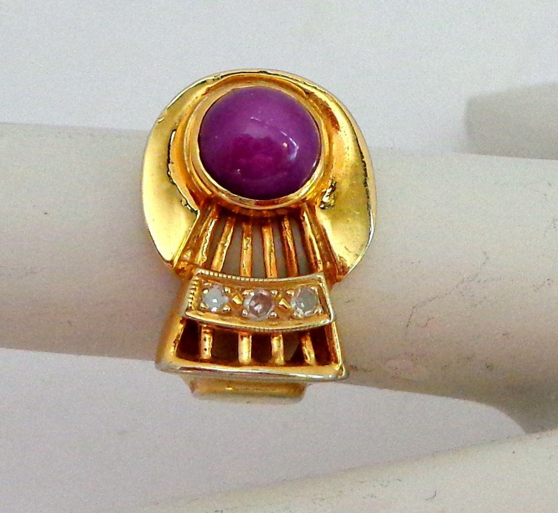14K Diamond and PINK or Red Star Ruby Retro Ring