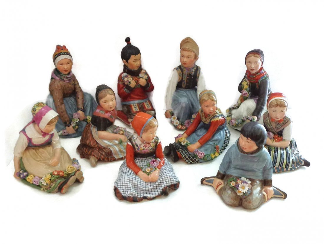 10 Royal Copenhagen Overglaze Polychrome Children