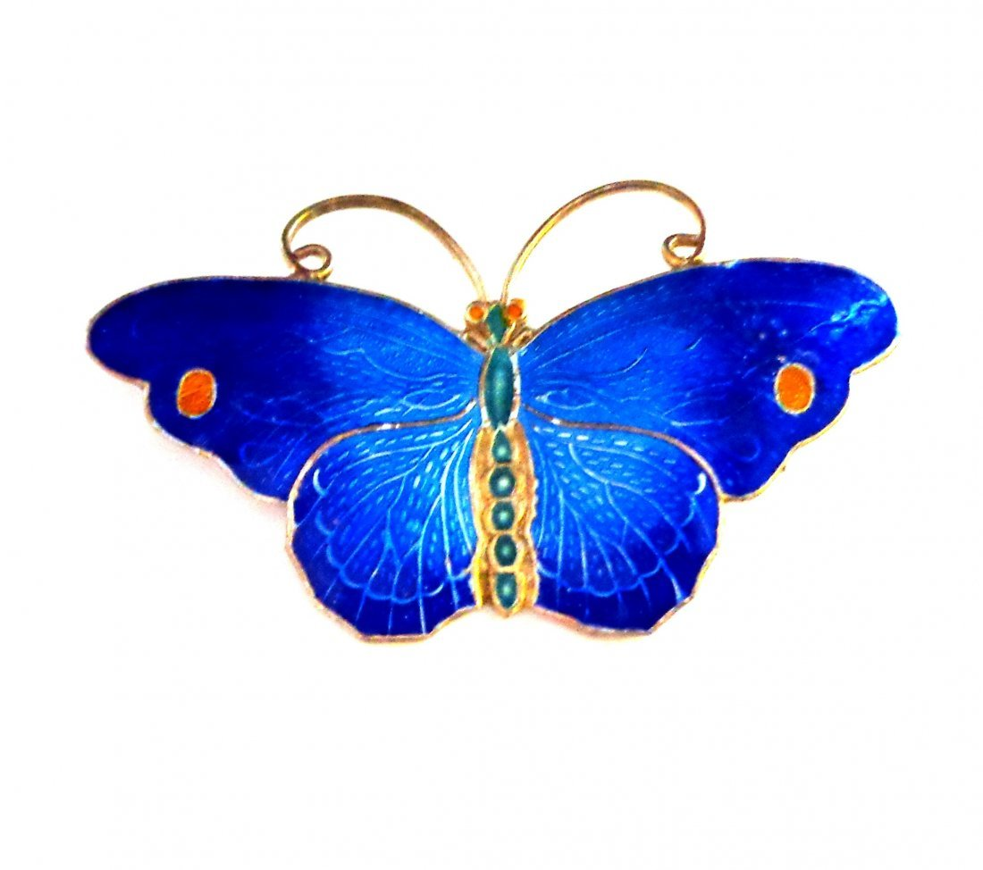 Enamel on Sterling Silver Blue Butterfly Pin