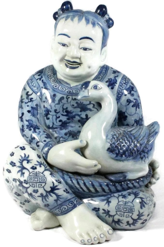 Big Blue and White Chinese Figure with Duck