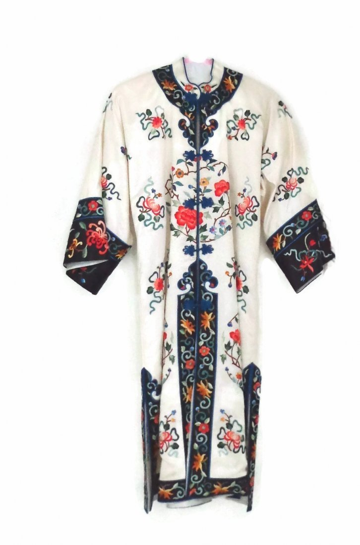 Vintage White Satin Silk Chinese Embroidered Robe
