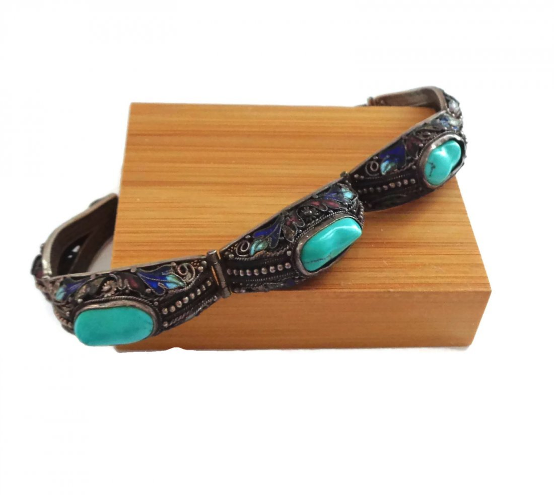 Chinese Enamel, Silver, and Turquoise Nugget Bracelet