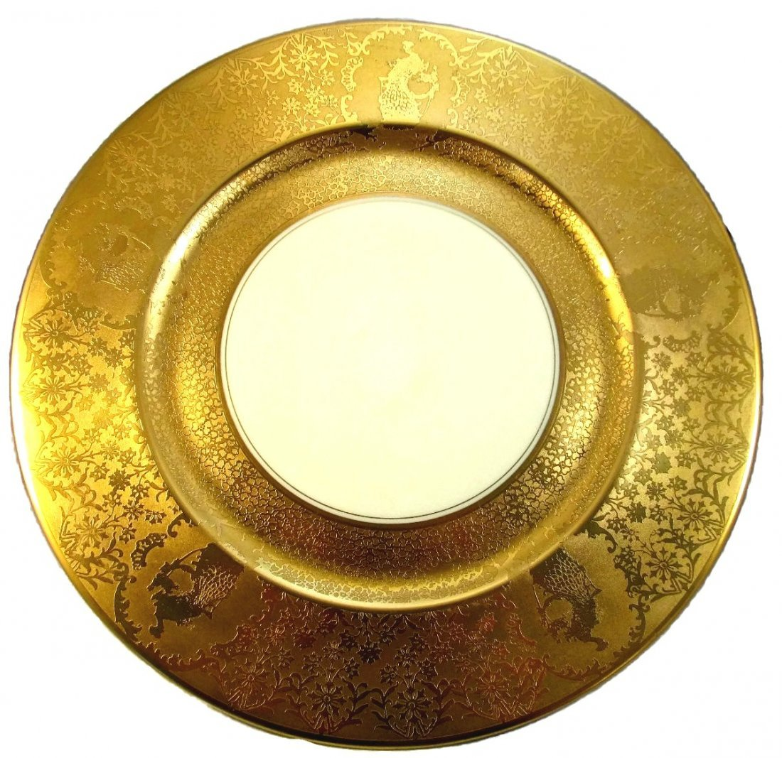Stack of 8 Gold Encrusted Chargers Plates - EXCON