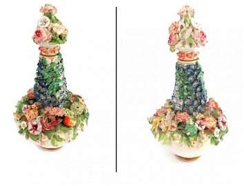 Meissen Marked Flower Encrusted Perfume Bottle