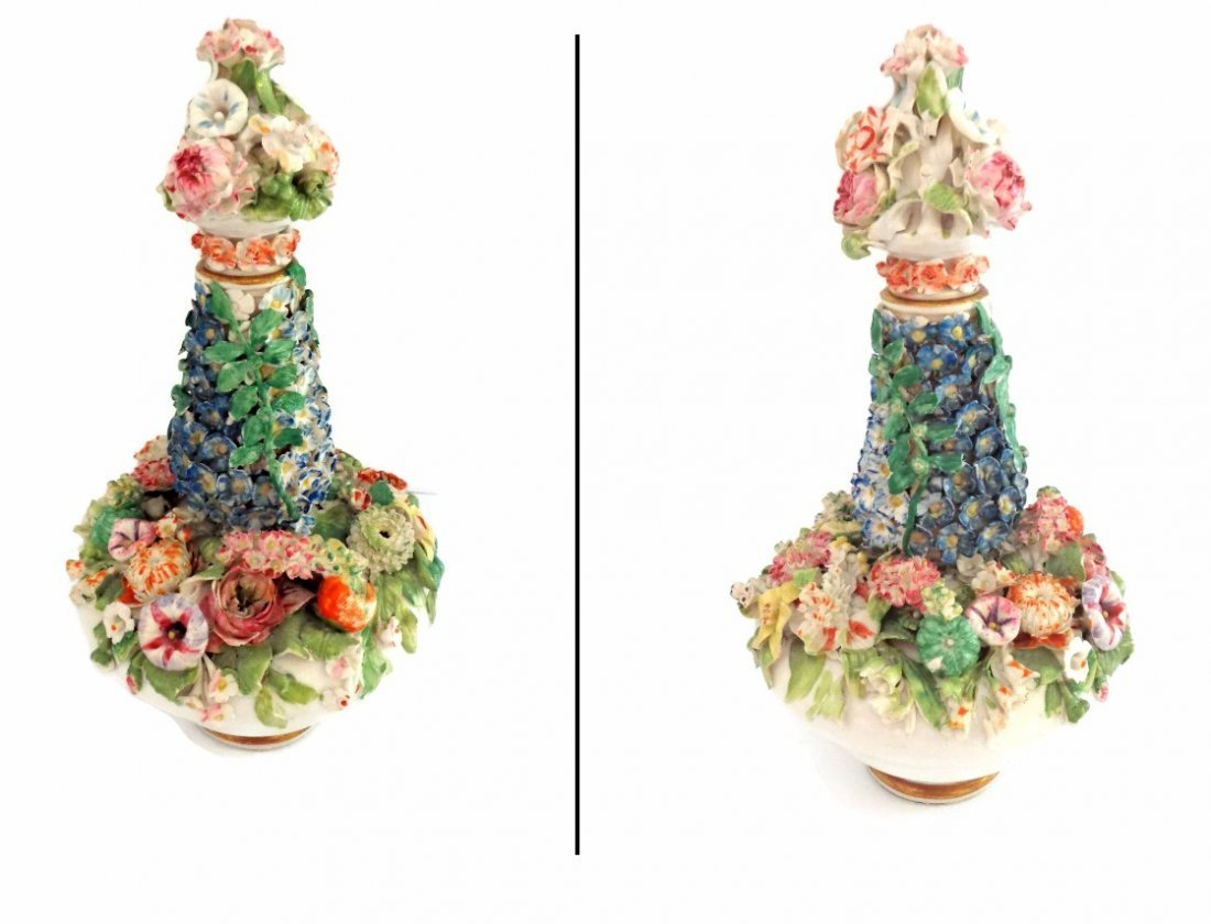 Meissen Marked Flower Encrusted Perfume Bottle