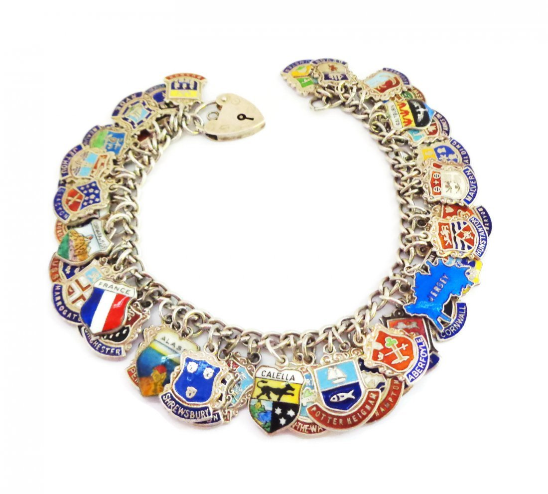 Loaded 52  Enamel Sterling Silver Tour Charms  Bracelet