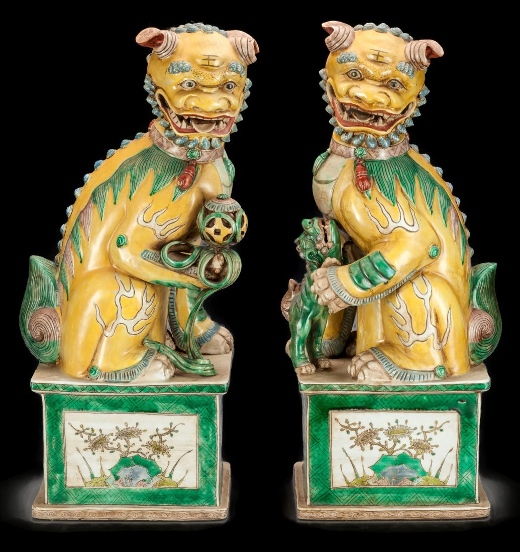 Very Large GORGEOUS Pair of Fou Foo Dogs Lions