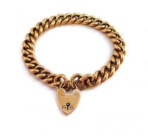 9 CT GOLD Charm Bracelet with Padlock Clasp