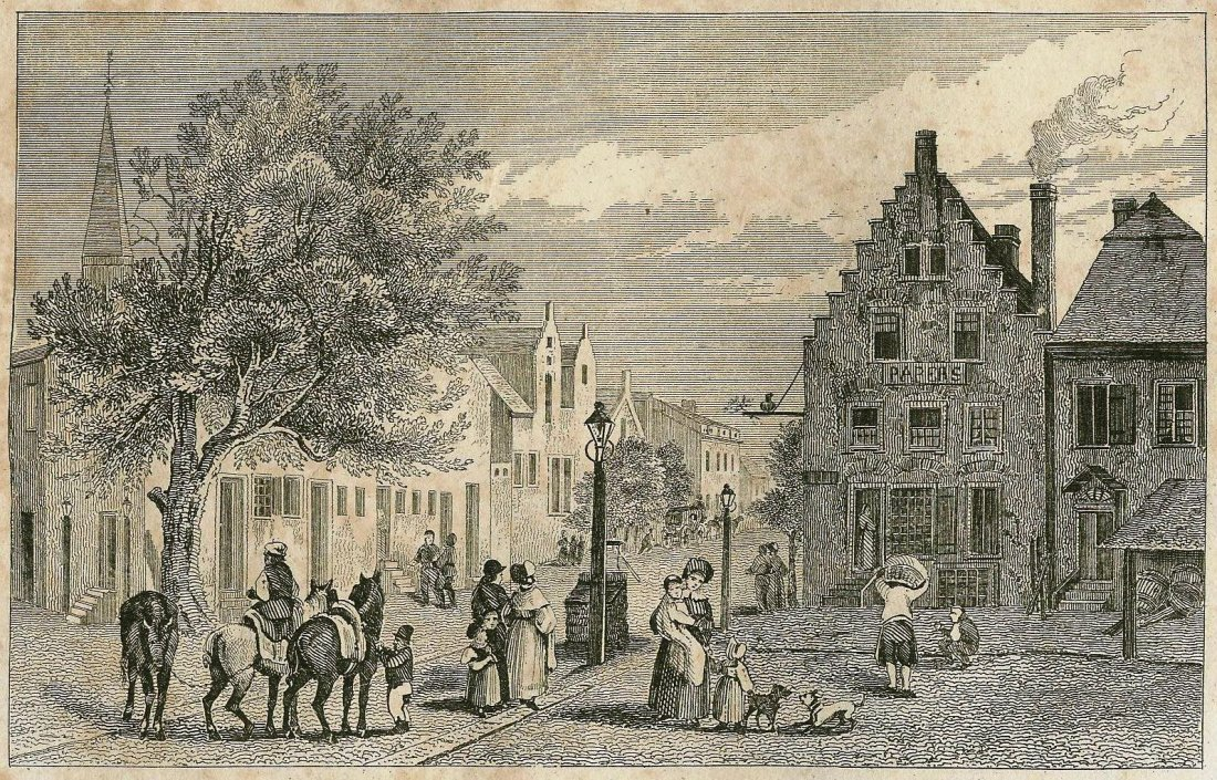House of the first Dutch governors in Albany USA. 1828