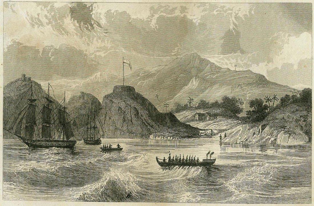 The American fleet off Nuku Hiva in 1813. USA/Polynesia