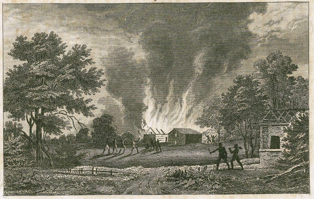 Callapse of the colonie Wyoming. USA. 1778.