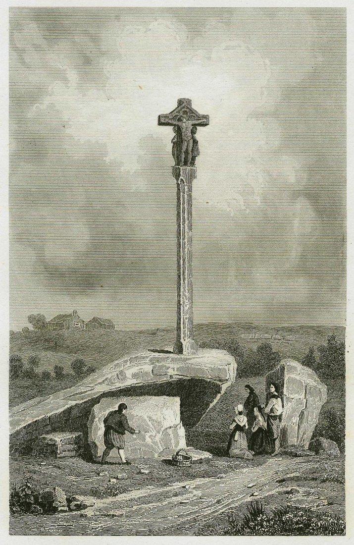 Cross and Dolmen near Carnace. FRANCE. 1835.