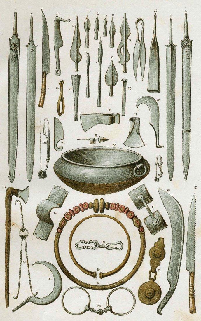 La Tène period tools, weapons and jewelery. 1901.