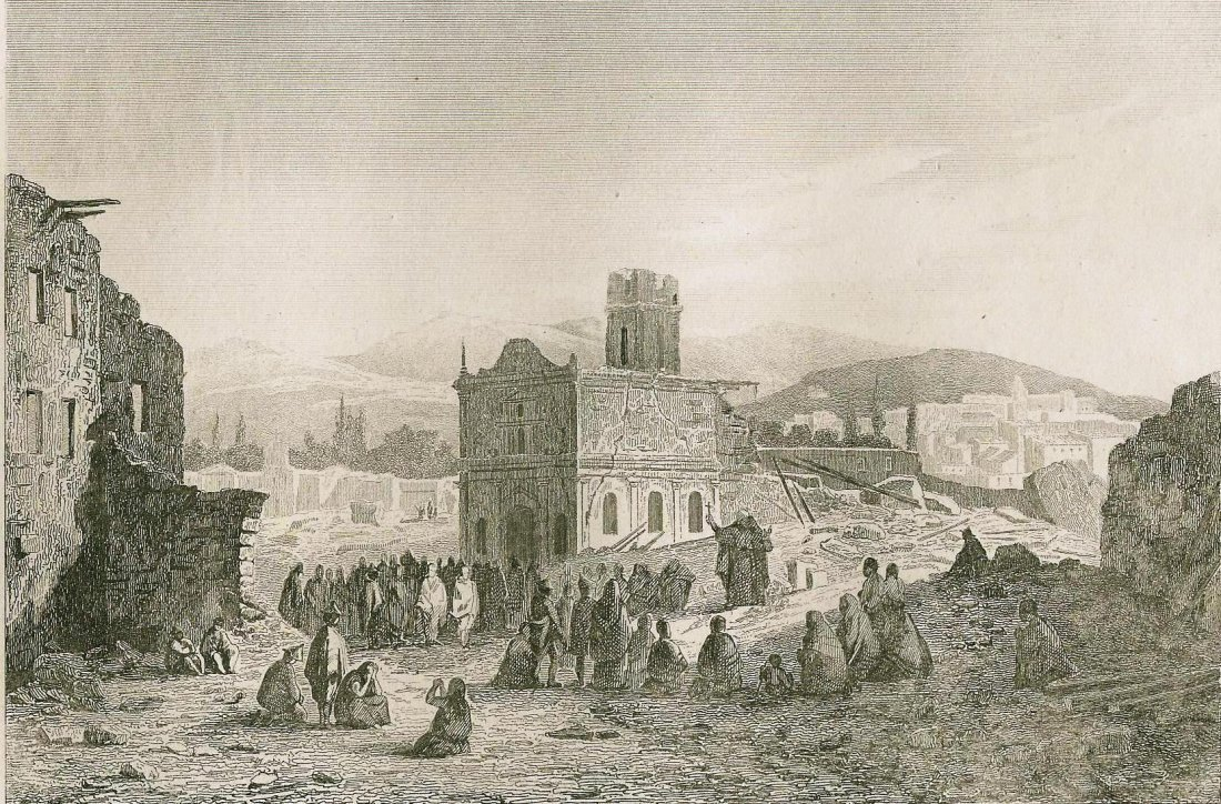 Earthquake in Valparaiso. Chile. South America. 1838.