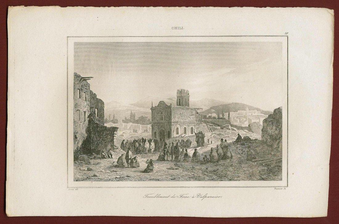 Earthquake in Valparaiso. Chile. South America. 1838. - 2