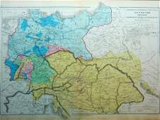 Physical and political map of Central Europe. 1871.