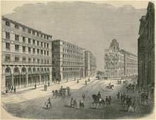 The place de la Puerta del Sol in Madrid. Spain. 1858.