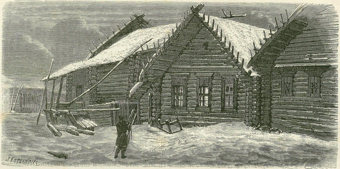 Russian peasant Isba house. Russia. 1867.