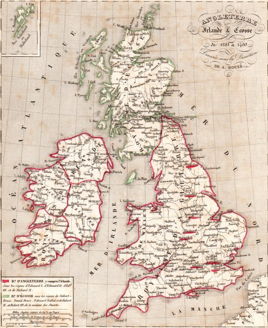 Map of England, Scotland and Ireland. Print in 1850.