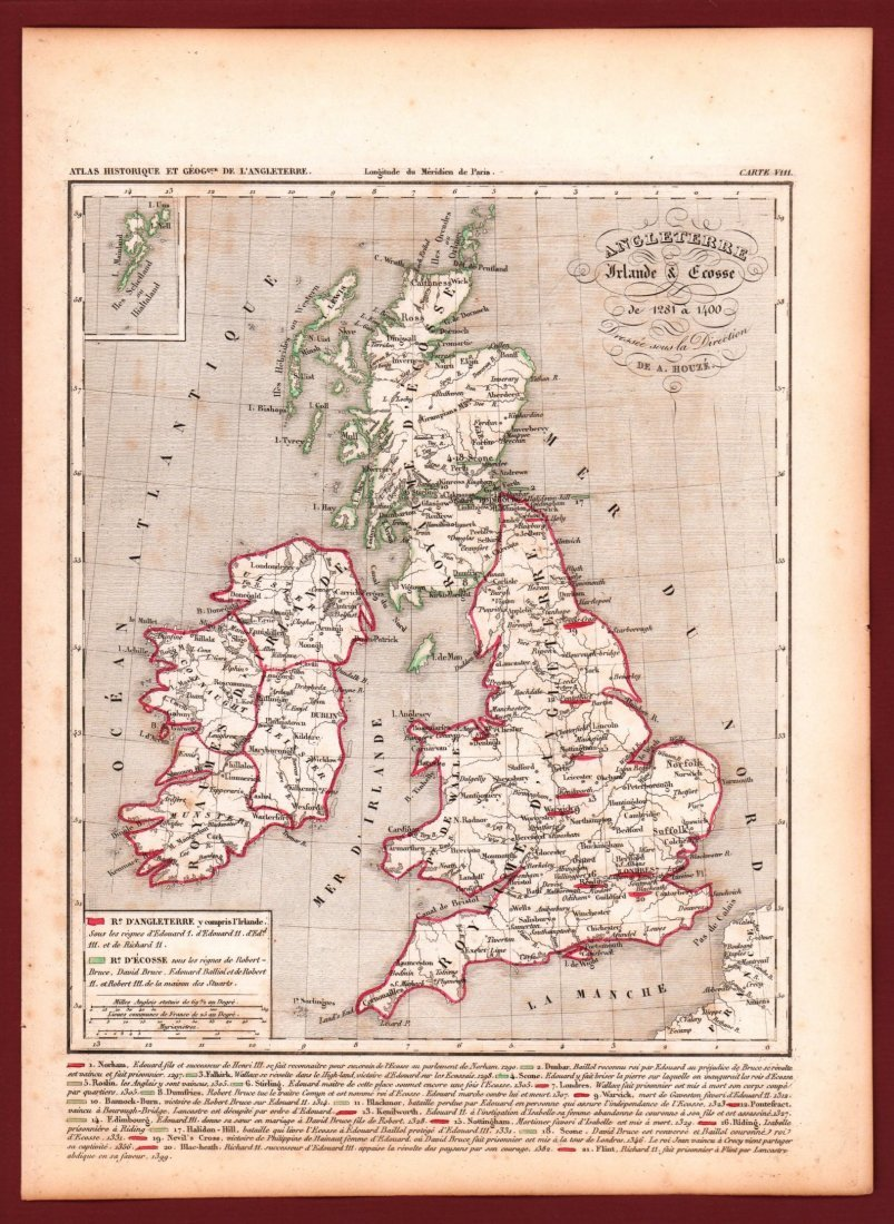 Map of England, Scotland and Ireland. Print in 1850. - 2