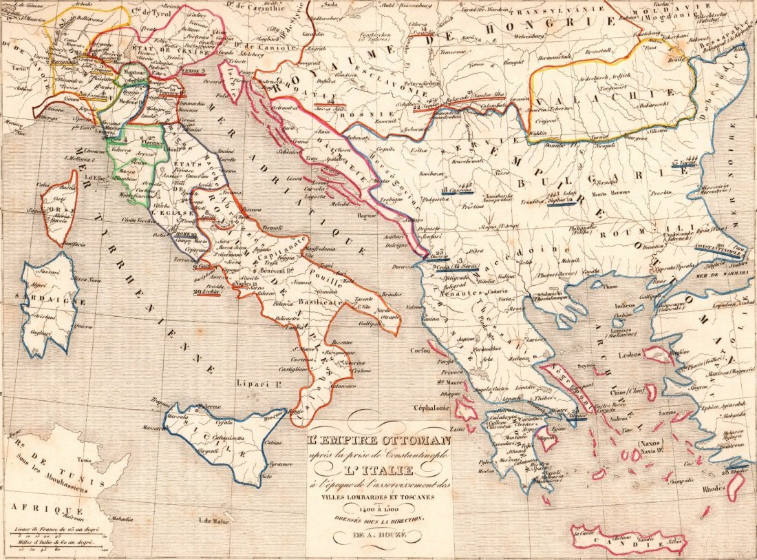 Map of  Ottoman Empire and Italy in 1400 - 1500.