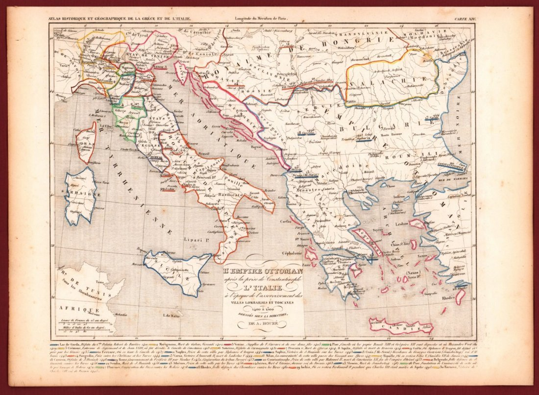 Map of  Ottoman Empire and Italy in 1400 - 1500. - 2