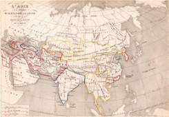 Map of  Asia  Print in 1850