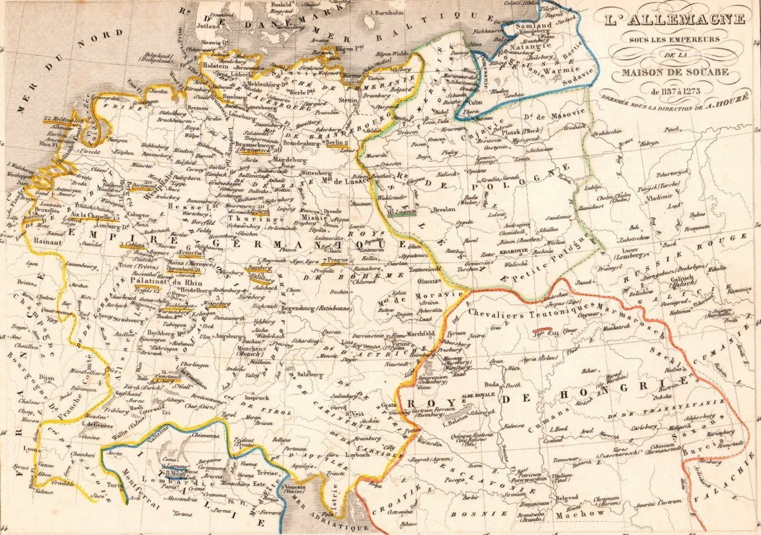 Map of Germany in 1137 - 1273. Print in 1850.