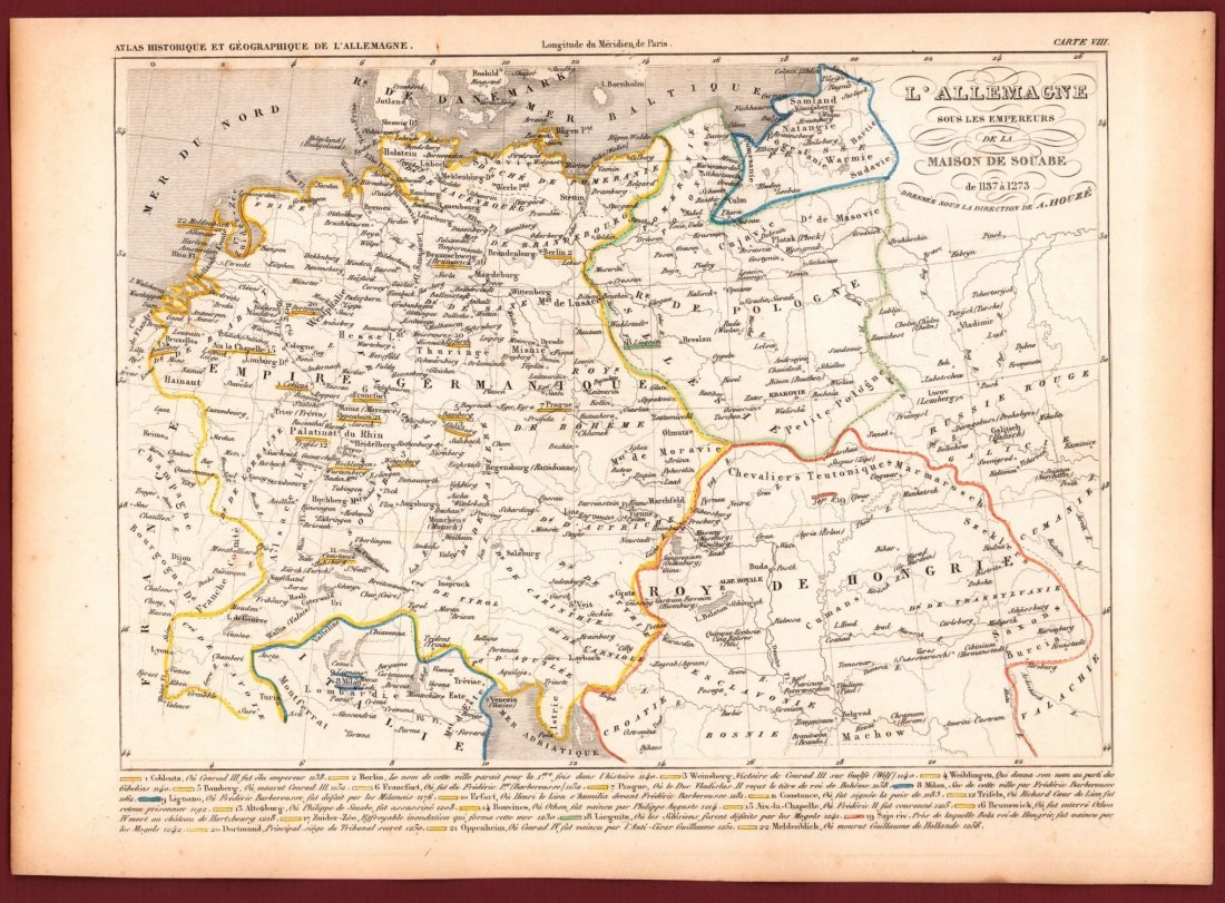 Map of Germany in 1137 - 1273. Print in 1850. - 2