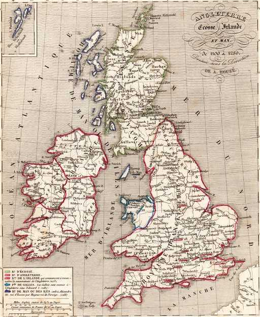 Map Of England Scotland.Map Of England Scotland And Ireland Print In 1850