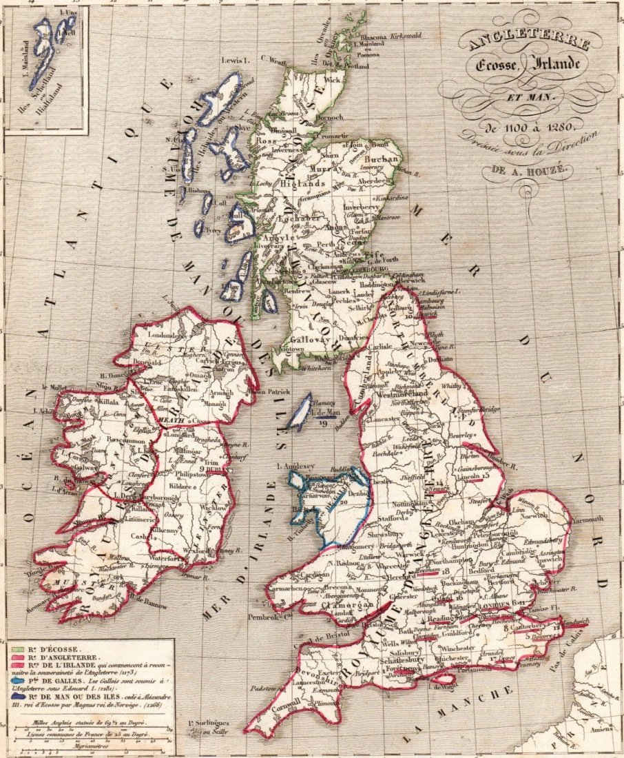Map Of England 1100.Map Of England Scotland And Ireland Print In 1850 Sep 08 2015