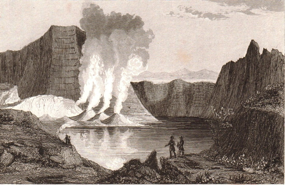 Taal Volcano in the Luzon Island. Philippines. 1836.