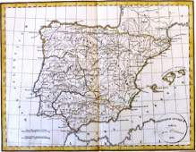 Map of ancient Spain. Europe 1828.