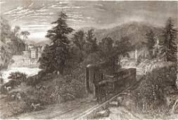 View of Railway little falls in Utica New York 1844