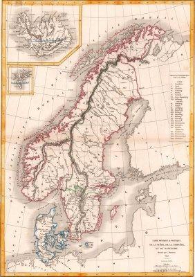Map Of Sweden, Norway And Denmark. Scandinavia. 1854.