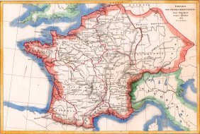 Map Of Empire Of The Merovingian Franks. 1854.