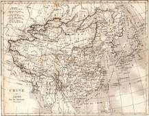 Map of China and Japan Asia 1837