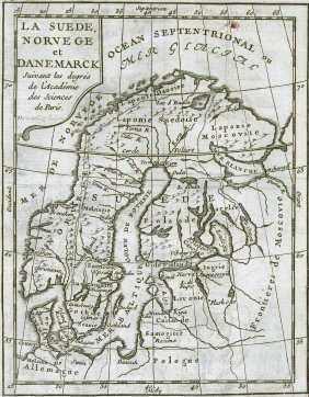 Buffier. Map Of Sweden Norway And Denmark. 1765.