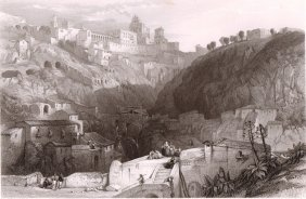 Castro Giovanni The Ancient Enna. Sicily. Italy. 1841.