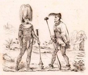 M. Dumont D'urville. Nuka Hiva Warriors. 1834.
