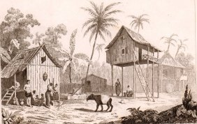 Housing Of Malays With A Pet Maiba. Malaisyia. 1836.