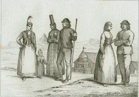 Icelandic Costumes. Iceland. 1842.